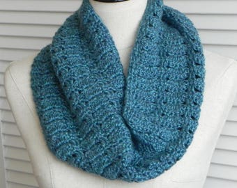 Crochet infinity scarf in blue-green is ready to ship, crochet cowl scarf #579