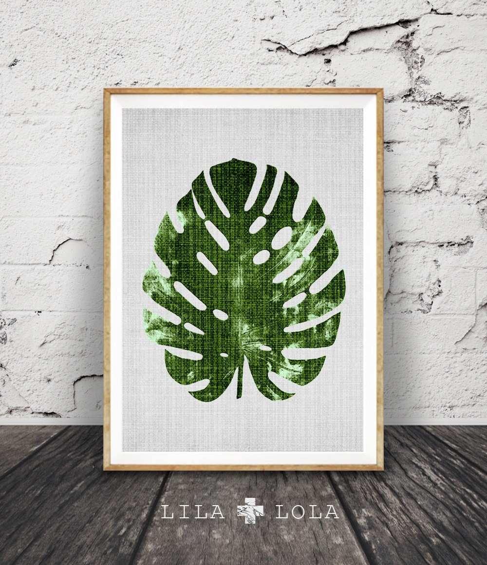 Large Leaf Wall Decor Monstera Leaf Print Modern Minimal Botanical Wall Art Large