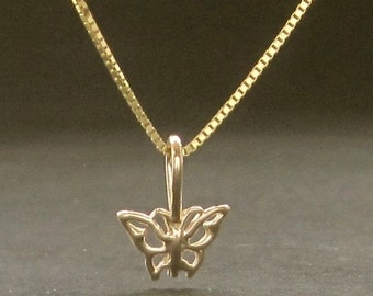 TINY butterfly 14k gold pendant solid gold necklace made in USA
