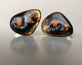 Fiery Enamel Copper Modernist Cufflinks Mid Century Modern Father's Day Accessories Gift 1960's Fashion Abstract Triangle Dramatic