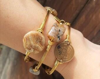 Lovely Lodolite Bangle, Gold Wire Bangle, Lodalite Jewelry, Neutral Bangle Stack, Gemstone Bangles, Brown Gemstones, Neutral, Stone Bangles
