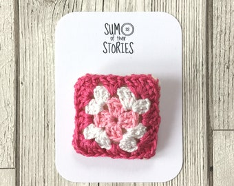 Crochet Mini Granny Square Brooch, Crocheted Pin, Pink Granny Square Badge