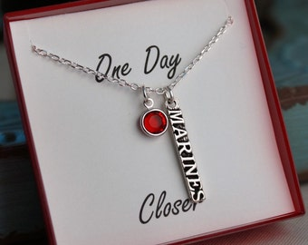 Veteran's Day - Marines Jewelry - Deployment necklace - Sterling Silver Chain - Marines Military - One Day Closer
