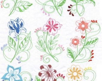 Brillant Florals - INSTANT DOWNLOAD - Machine Embroidery - 4x4 hoop AND 5x7 hoop