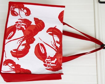 Lobster Tote Bag - Marketing Bag - Cape Cod - Maine - New England - Beach Bag - Red Lobster