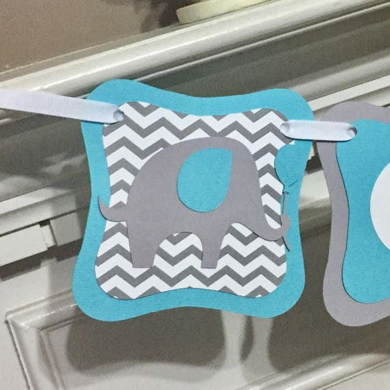Baby Shower Custom Banners: Elephant Baby Shower Banner Personalized Chevrone Name