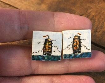 Cufflinks Vintage Scrimshaw Boat Ocean Nautical Scene hand painted