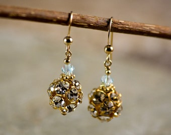 Golden Bride Earrings Handmade Vintage Swarovski Crystal old fashioned retro classic
