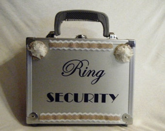 Burlap With Lace Wedding Ring Security Briefcase