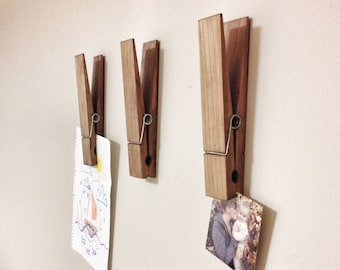 "Large Rustic 9"" Decorative Clothespin in dark walnut finish - office home bathroom nursery laundry wall decor note photo holder gift"