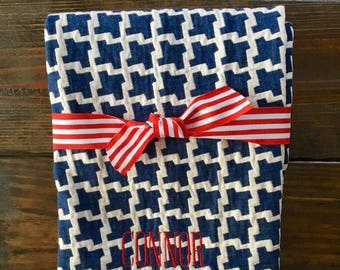 Baby Boy Navy Houndstooth Jacquard Blanket