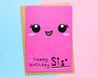 Sister Birthday Card, To My Sister, Little Sister Birthday, Big Sister Birthday, Birthday Card For Sister, Kawaii Face, Birthday Card Sister