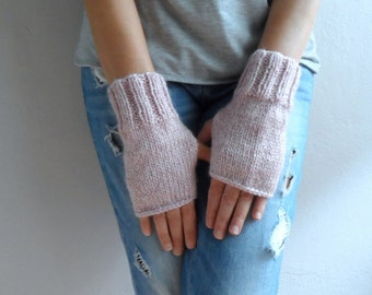 Fingerless Gloves in Pink, Christmas Holiday Gift