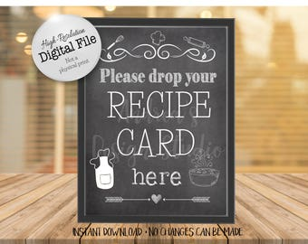 Drop Your Recipe Card Here Sign, Bridal Shower Recipe Card, Wedding Recipe Box, Chalkboard Style, Instant Download, Digital Files