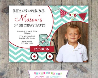 RED WAGON 5x7 Photo Birthday Invitation Boy Printable