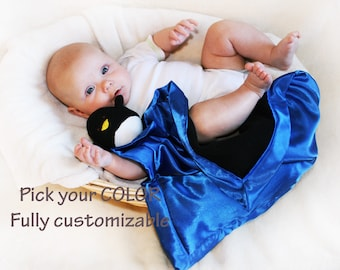 Penguin Security Blanket, baby blanket Lovey Blanket Satin, Baby Blanket Stuffed Animal Baby Toy - Customize Color - Monogramming Available