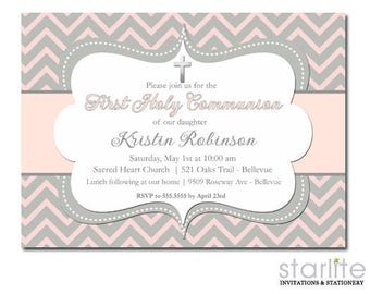 First Communion Invitation Girl, Pink Grey Communion Invitation, Girl First Communion Invitation Printable, Communion Invitations Printed