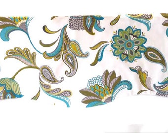 Window Valance - Window Topper - Kitchen-Bedroom-Bath-Straight or Curved lined valance made with Covington Savannah Paisley Surf Fabric