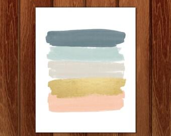 Brushstrokes print, Brushstrokes printable, Printable nursery art, Instant Download