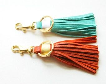 Leather tassel keychain, Leather Tassel key fob, Leather bag charm, Leather tassel charm, Leather tassel key fob, Bridemaids gifts