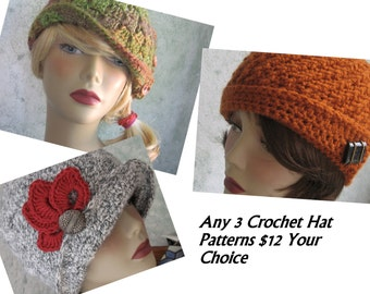 Crochet Hat Patterns Any 3 Your Choice Childrens Hats Womens Hats No EU VAT Tax