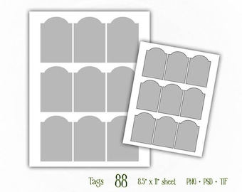 Tags - Digital Collage Sheet Layered Template - (T088)