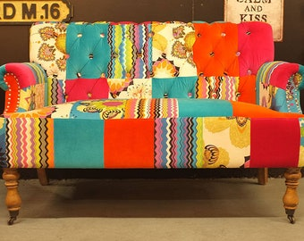 Patchwork Sofa. Large 2 seater colourful patchwork sofa. W:130cm. Free Delivery
