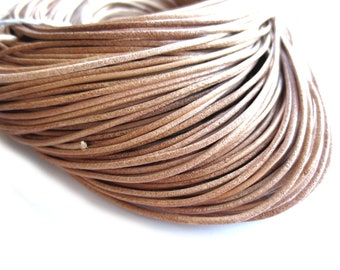 1 Yard / 36 inches of Sandy Brown Genuine Leather Cord - 2mm wide