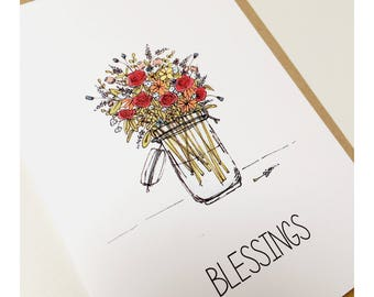 Set of five hand-drawn and printed notecards, notelets, greetings cards
