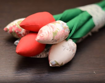 Handmade Flowers Fabric Tulips Handmade Gift for Woman Present for Beloved Home Decor