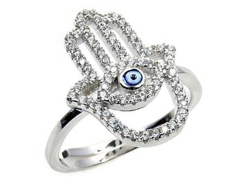 Hamsa Hand Rig - Evil Eye Ring - Protection Ring - Amulet Ring - Sterling Silver CZ Ring, Size 8 Adjustable; AB563