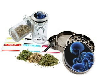 "Mushrooms - 2.5"" Zinc Alloy Grinder & 75ml Locking Top Glass Jar Combo Gift Set Item # G50-G82615-5"