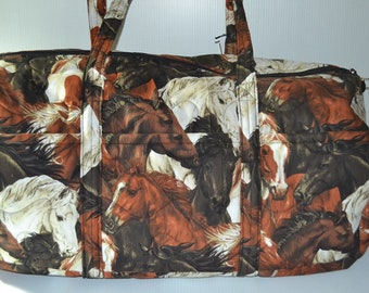 Quilted Fabric Large Duffle Luggage Bag with Horses  Perfect for the Horse Lover!