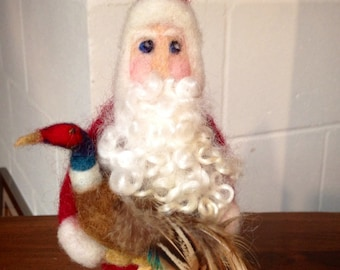 Needle Felted Santa with Pheasant