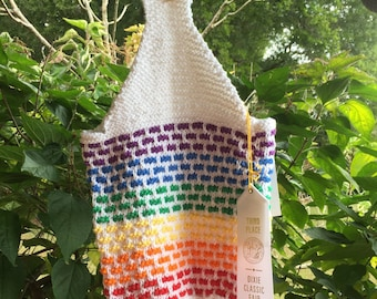 Cotton Market Grocery Tote / Lunch Bag / Purse [hand-knit]