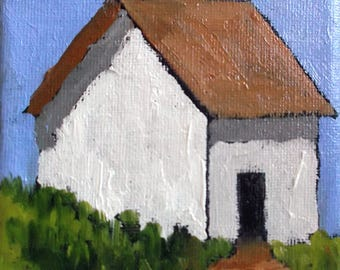 Miniature Impressionist Oil Painting 4x4 Plein Air California Farm Santa Cruz Landscape Lynne French Art