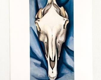 Georgia O'Keeffe / Horse's Skull on Blue / 1930 / Art / Book Page Print / Published 1990's