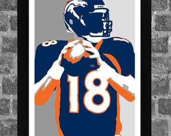 Denver Peyton Manning Sports Print Art 11x17