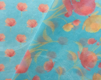 Poppies in Blue Edible Wafer Paper