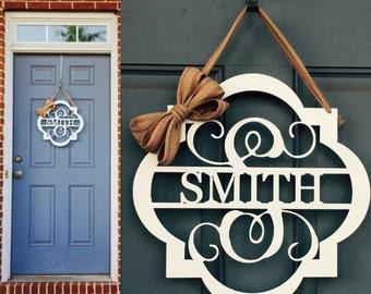 Monogram Door Hanger - Metal Mongram Sign - Custom Metal Sign