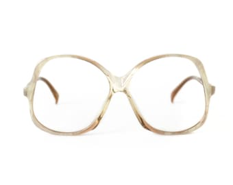 big frame transparent vintage eyeglasses - white brown oversized glasses - large Actuell eye glasses frame - 80s new old stock