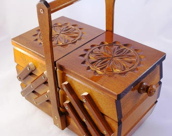 Handmade Wooden Sewing Basket/ Sewing Box/ Storage Box/ Needle Box/ Wooden Accordion Box / Sewing Casket/ Hand Carved Box