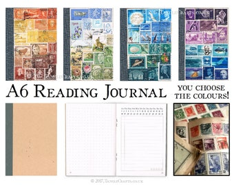Reading Journal, Book Log, with Index | Boho gift for reader, book lover, bibliophile | One of a Kind Custom Colour A6 Kraft Reader's Diary