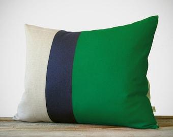 16x20 Color Block Pillow in Emerald, Navy & Natural Linen by JillianReneDecor - Modern Home Decor - Striped Trio - Kelly Green