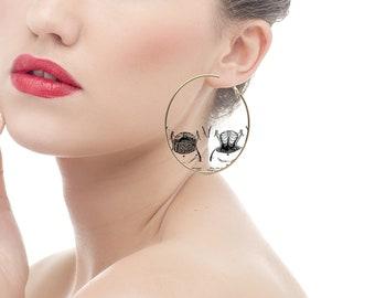X Ray Earrings, Woman's Corset Deformity, Anatomy Jewelry, Black and White, Large Gold Hoop Earrings, Strange Gifts