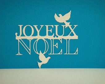 "Cut out ""Merry Christmas"" with these two doves in white drawing paper"