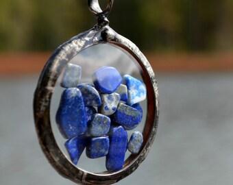 Lapis Lazuli Necklace, Real Pocket Watch Crystals, Blue Lapis Lazuli, Pocket Watch Necklace, Long Necklace, Blue Jewelry, Lapis  (2469)