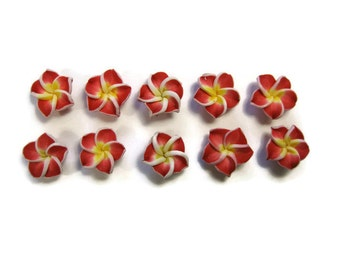 12 mm Polymer Clay Plumeria Flowers Set of 10 (MP9)