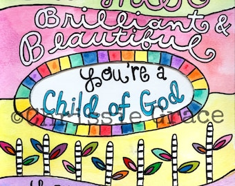 Daughter, child of God, Kids Art, Baby Gift, Nursery, Baptism, Baby Shower, 8 x 10, Watercolor
