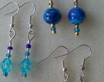 3 Pairs of Beautiful Handmade Earrings